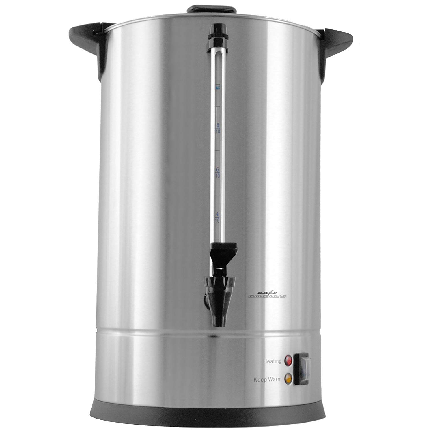 Cafe Amoroso 100 Cup Stainless Steel Coffee Maker Urn - Premium Commercial Double Wall Design - Perfect For Catering, Churches, Banquets, Restaurants - 1 Year Warranty