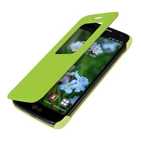 kwmobile Funda para LG G2 Mini - Carcasa de [Cuero sintético] con [Ventana] - Case Protector en [Verde]