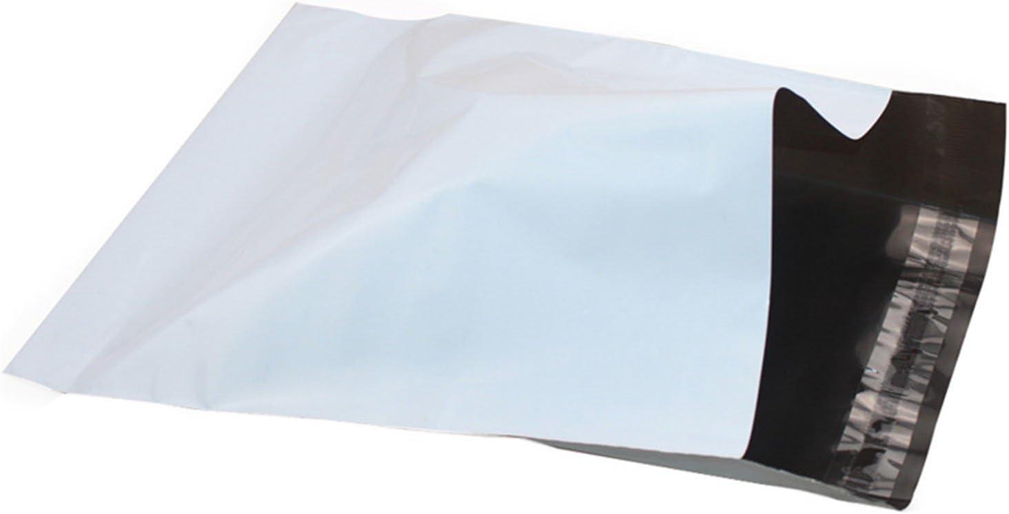 50 Bolsas, sobres para envío en 43 x 57 cm, de plástico con cierre de solapa adhesiva, color blanco opaco y muy resistentes. Envíos correo postal, y envíos mensajería. (Bolsas envíos 43x57)