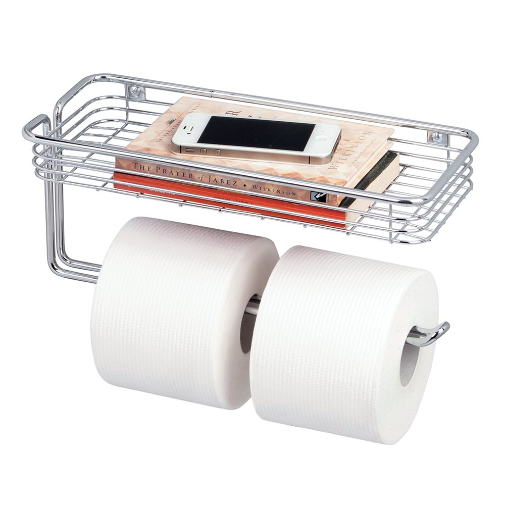 Farmhouse Metal Wire Wall Mounted Toilet Tissue Paper Roll Holders Convenient Phone Organizer Shelf Extra Bathroom Storage - Chrome