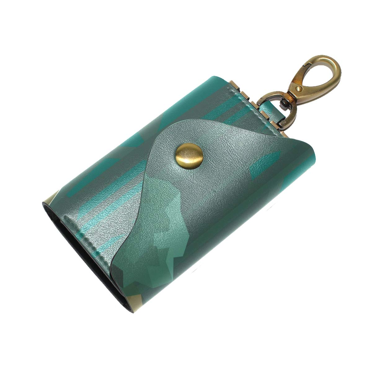 KEAKIA Low Poly Forest Leather Key Case Wallets Tri-fold Key Holder Keychains with 6 Hooks 2 Slot Snap Closure for Men Women