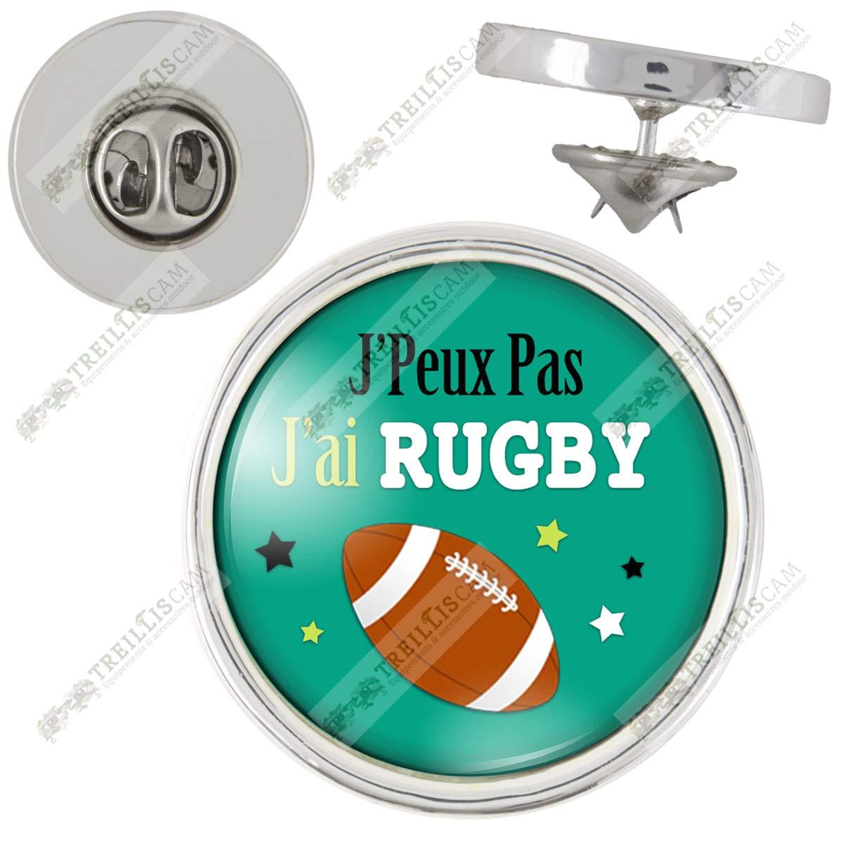 Pin's J'Peux Pas J'Ai Rugby - Humour Sport Excuse Idé e Cadeau Pins Bouton Epinglette Coloris Argent Générique GAM_PINA-JPE7