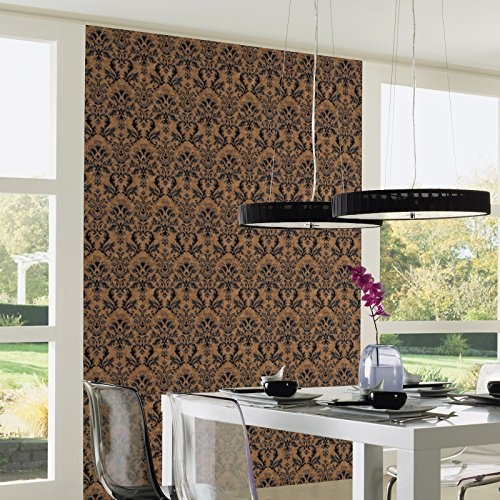 Textured Vinyl Damask Wallpaper Brown, Black and Silver P+S 02485-40 by P+S International (Image #2)