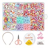 Arts & Crafts : 850PCS DIY Bead Set with a Coiling, a Scissors and 3 Hairpins, 24 Different Types and Shapes Colorful Amblyopia Training Acrylic DIY Beads in a Box, Children's Bead Necklace and Bracelet Crafts