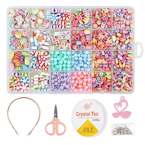 850PCS DIY Bead Set with a Coiling, a Scissors and 3 Hairpins, 24 Different Types and Shapes Colorful Amblyopia Training Acrylic DIY Beads in a Box, Children's Bead Necklace and Bracelet Crafts -
