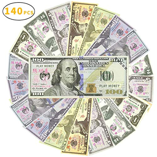 Sopu Prop Money Play Money Movie Game Realistic Play Paper Money Full Print 2 Sided-Set Bills for Kids, Students, TV/ Movie/ Video/ Party/ Games/ Pranks -