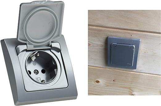 Delphi Enchufe con protecci/ón de contacto IP44, 250 V ~ // 16 A, incluye marco, con tapa abatible color plateado