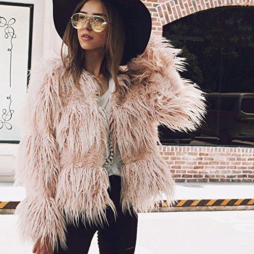 inverno cappotto cappotto elegante giacca da donna caldo large in L Pink al nbsp;X 3 Outwear x Pink donna autunno S Wildeal pelliccia moda tenere wPE070