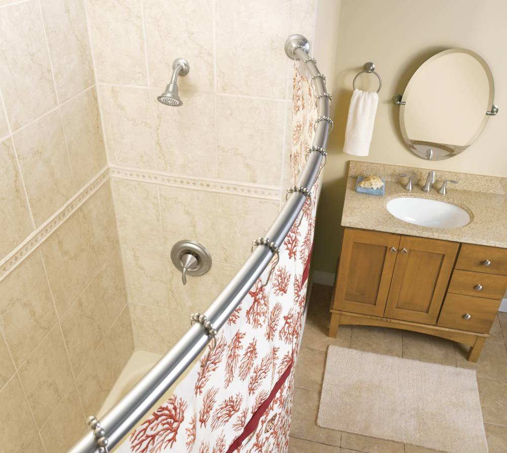Moen CSR2165BN 5-Foot Curved Fixed Mount Shower Curtain Rod with Pivoting Flanges, Brushed Nickel
