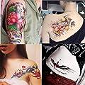 Dalin 4 Sheets Fashion Temporary Tattoos, Lotus, Koi Fish, Wings, Sexy Lady
