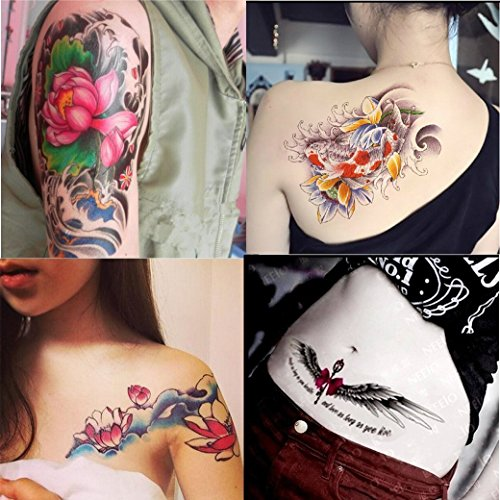 Tattoo Koi - Dalin 4 Sheets Fashion Temporary Tattoos, Lotus, Koi Fish, Wings, Sexy Lady