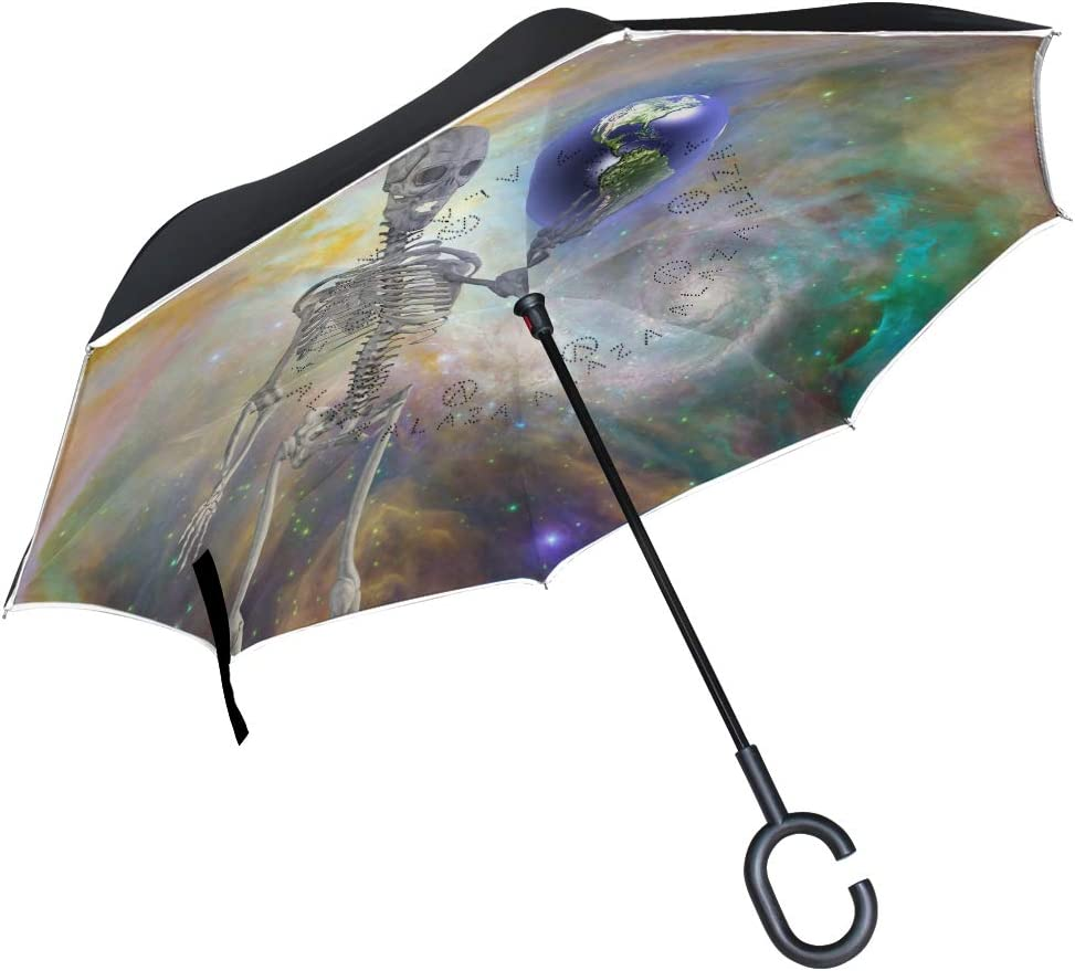 Mr.Brilliant Skull Skeleton Reverse Umbrella Creative Pattern Windproof UV Protection Double Layer Inverted Umbrella with C-Shaped Handle for Women 2060287