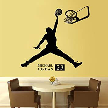 Fange DIY Removable Michael Jordan 23 Art Mural Vinyl Waterproof Wall  Stickers Living Room Decor Basketball