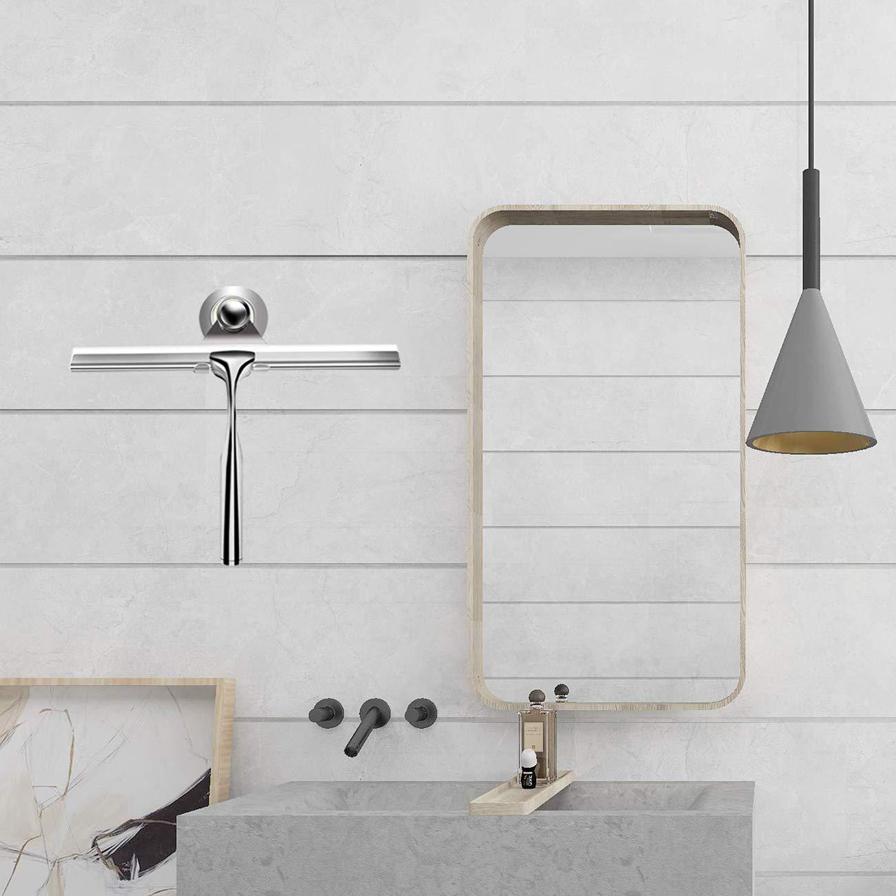 Badezimmer Fensterabzieher aus Edelstahl mit passendem Saugnapf Duschablage ohne Bohren f/ür Duscht/üren Fenster und Autoglas Duschabzieher