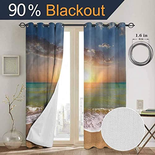 SONGDAYONE Sunset Black Out Window Curtain 2 Panel