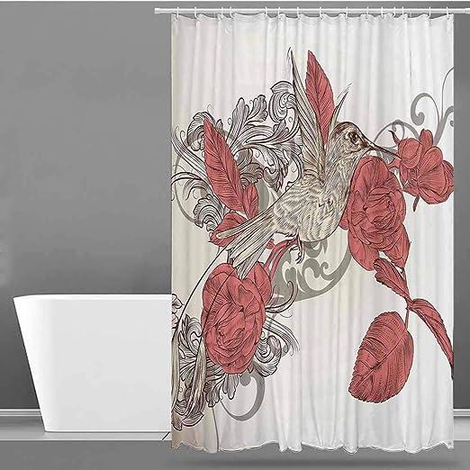 VIVIDX - Cortinas para mampara de Ducha, diseño artístico estilizado, diseño de colibrí de Plumas Coloridas: Amazon.es: Hogar