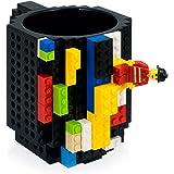 REDLEMON Taza de Bloques Armables (Tipo Lego), Taza para Café y Bebidas Calientes - Negra