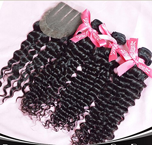 Wholesale 7A Chinese Virgin Remy Human Hair 3 Bundles With 4''x4'' 3 Part Lace Closure Deep Wave Natural Color Trademark:DaJun 8''closure+14''14''14''weft by DaJun