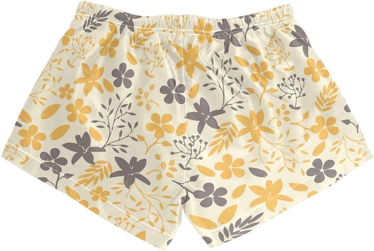 HEOEH Womens Flower Gray Yellow Pattern Beach Shorts Pants Ladies Boardshort Swimming Trunks