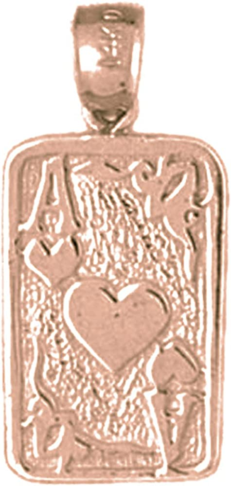 Rose Gold-plated 925 Silver 24mm Playing Cards Ace Of Hearts Pendant Jewels Obsession Silver Playing Cards