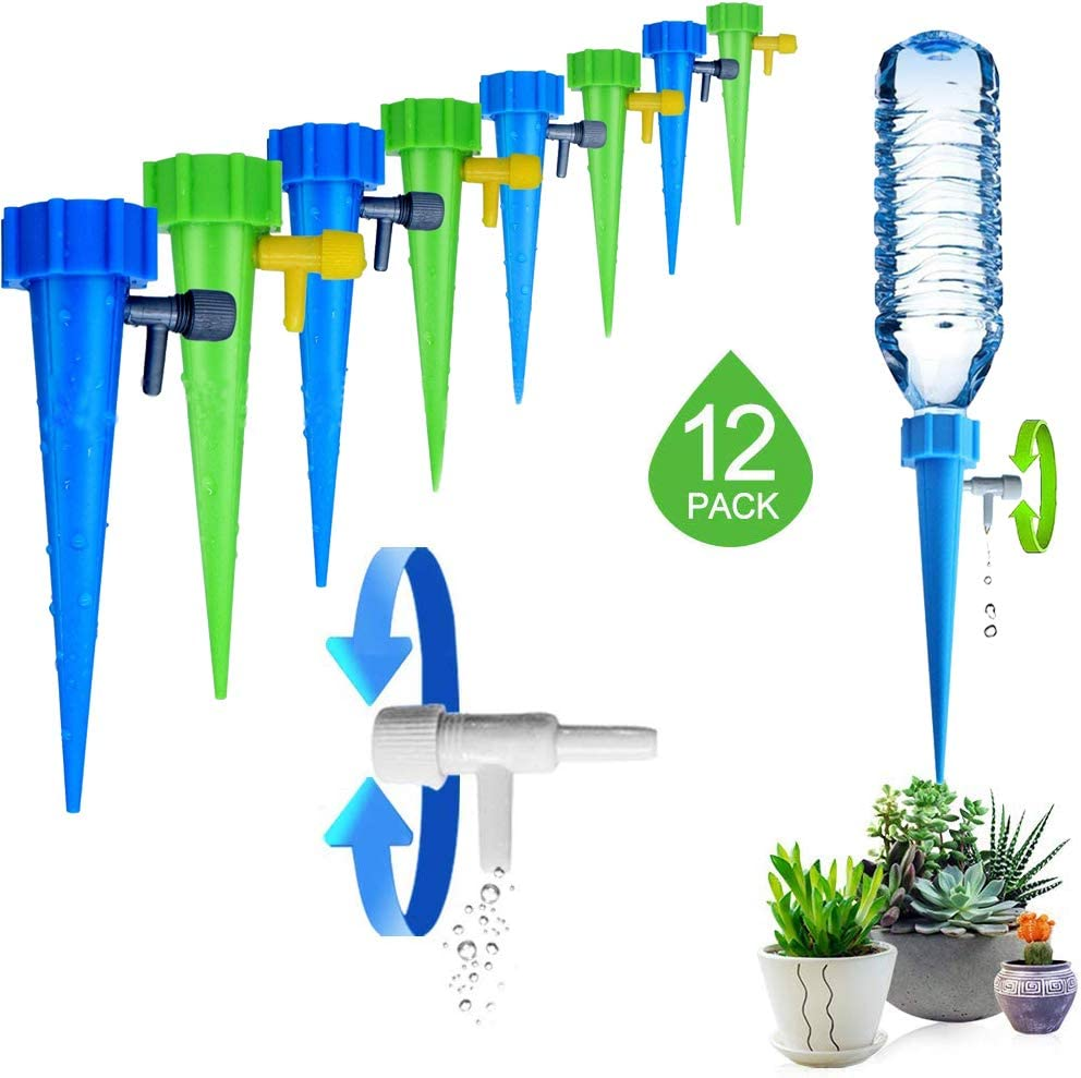 Plant Self Watering Devices 6 Pack Plant Self Watering Spikes Automatic Watering System with Control Valve Irrigation Dripper for Indoor Outdoor