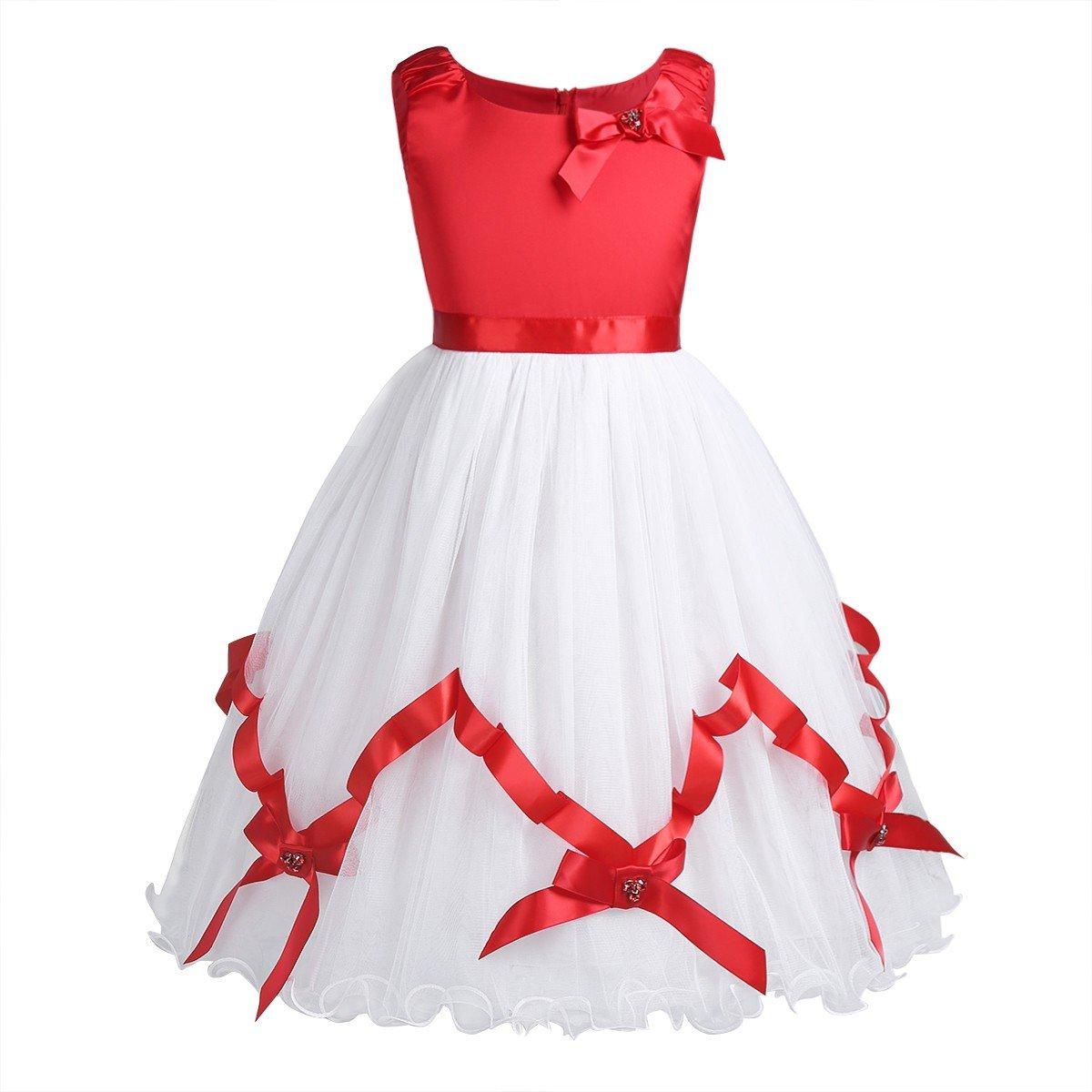 Freebily Girls Satin Mesh Christmas Sleeveless Flower Girl Dress Princess Pageant Wedding Party Dress Red&White 7-8