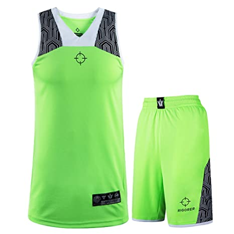 bfecb67d5cee Rigorer Men s Basketball Uniform Sports Jersey and Shorts Training Tank Top Set  Athletic Sportswear