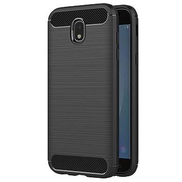 Coovertify Funda Shield Black Carbon Samsung J7 2017, Carcasa Negra TPU Gel Silicona Flexible Efecto Fibra de Carbono para Samsung Galaxy J7 2017 ...