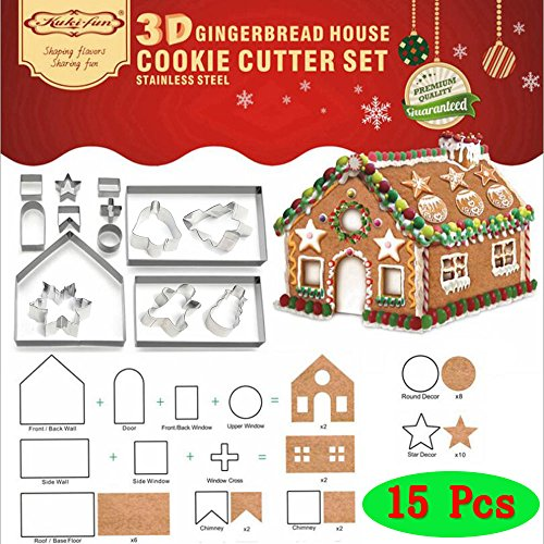 Clay Gingerbread - (Set of 15)3D CHRISTMAS Gingerbread House Cookie Cutter Set + Winter Christmas Cutouts Cutters Kit - Christmas Tree, Snowflake, Snowman, Gingerbread Man,Jingling Bell