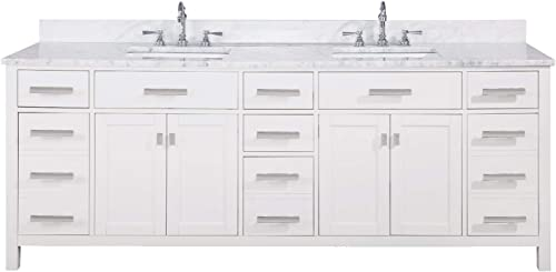 Luca Kitchen Bath LC84PWW Tuscan 84 Double Bathroom Vanity Set in Pure White with Carrara Marble Top and Sink