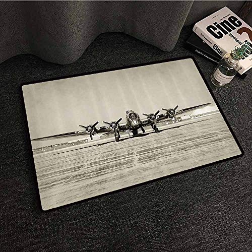 (Airplane Decor Collection Modern Door mat World War II Era Heavy Bomber Front View Stained Old Photo Flying History Takeoff Aeronautics Image Suitable for Outdoor and Indoor use W24 xL35)