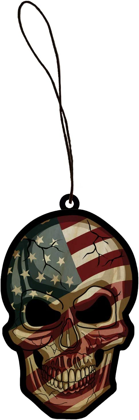 Patriotic American Flag Skull USA Americana Face Engraved Printed Wooden Rear View Mirror Car Charm Dangler