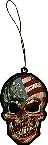 Patriotic American Flag Skull USA Americana Face Engraved Printed Wooden Rear View Mirror Car Charm Dangler