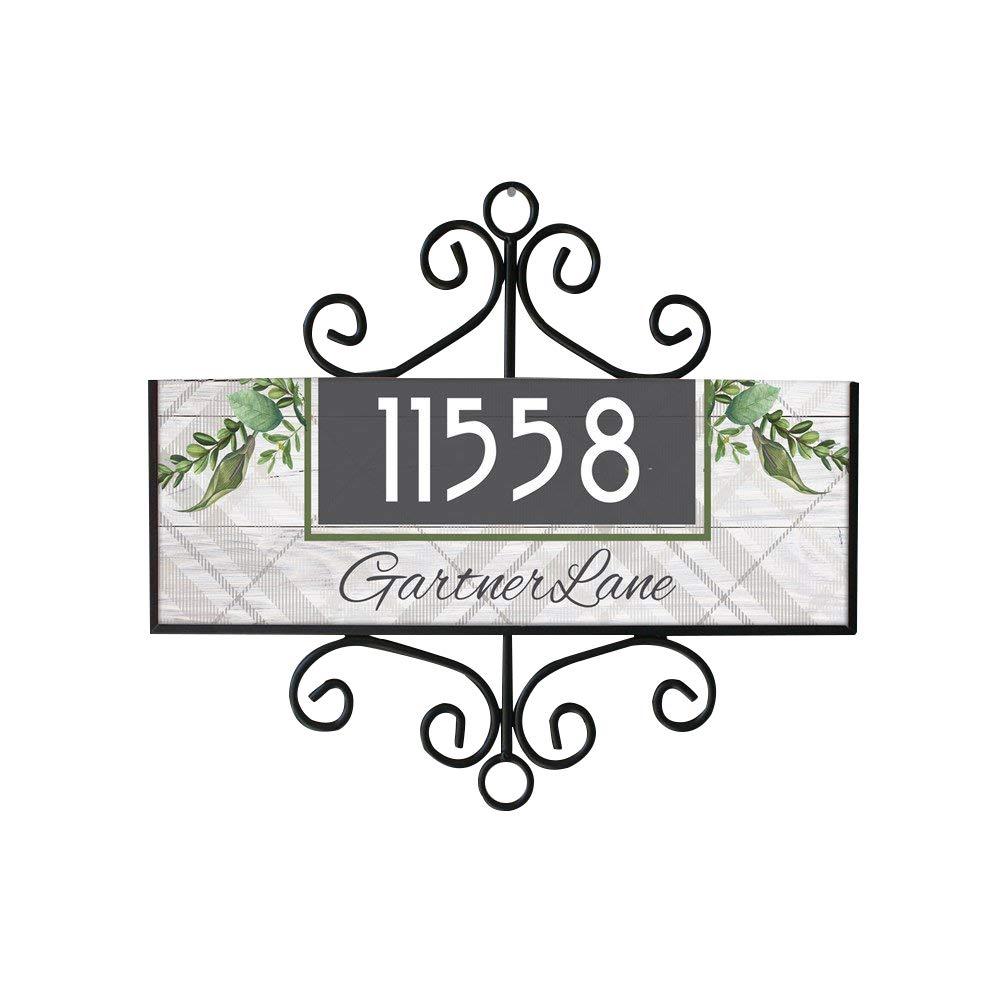 GiftsForYouNow Personalized Botanical Plaid Address Sign