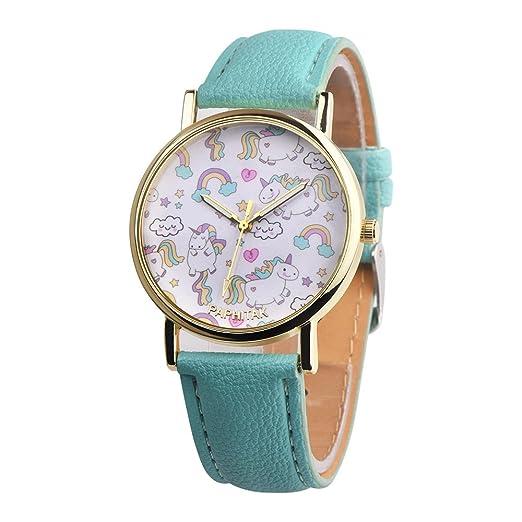 Funique - Reloj de pulsera de cuarzo para adolescentes, diseño de dibujos animados con estampado floral, esfera analógica, correa de piel sintética verde ...