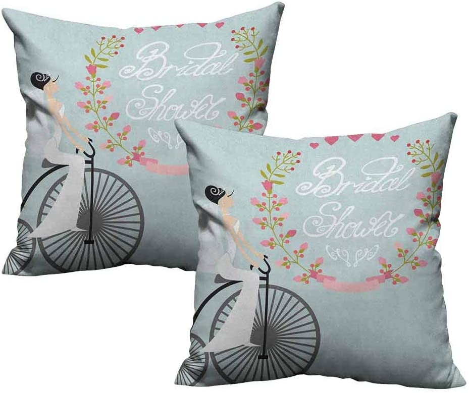 Amazon Com Two Piece Throw Pillow Cushion Cover Bride In Wedding Dress Bicycle Flowers Celebration Image 26 X26 Standard Size Home Kitchen