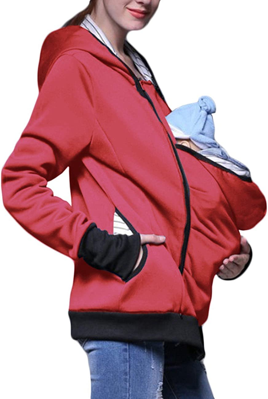 EMMA Womens and Mens Maternity Cotton Fleece Hoodie 3 in 1 Baby Carrier Holder Pullover Top Kangaroo Coat Outwear Hooded Jacket with Zipper Plus Size