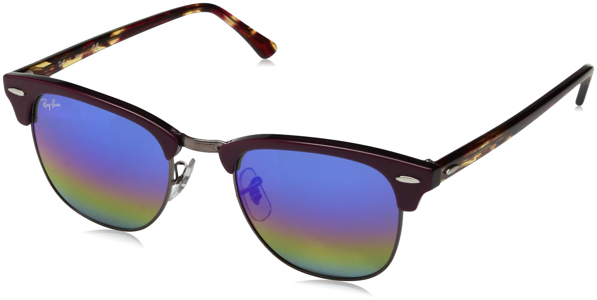 Ray-Ban RB3016 Clubmaster Square Sunglasses, Metallic Dark Bronze/Blue Rainbow Flash, 51 mm