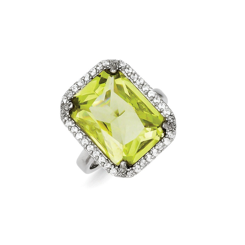 Green Cubic Zirconia CZ Fashion or Engagement Ring Solid 925 Sterling Silver Rectangle Clear /& Lt 3mm