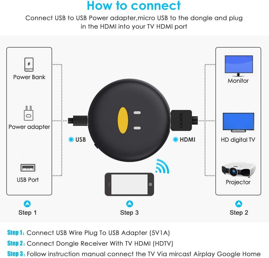 2.4GHz WiFi Display Receiver Soporte Miracast // Airplay // DLNA para TV // Monitor // Proyector Pantalla de Espejo Airplay Dongle de tel/éfono a Pantalla Grande WiFi Display Dongle