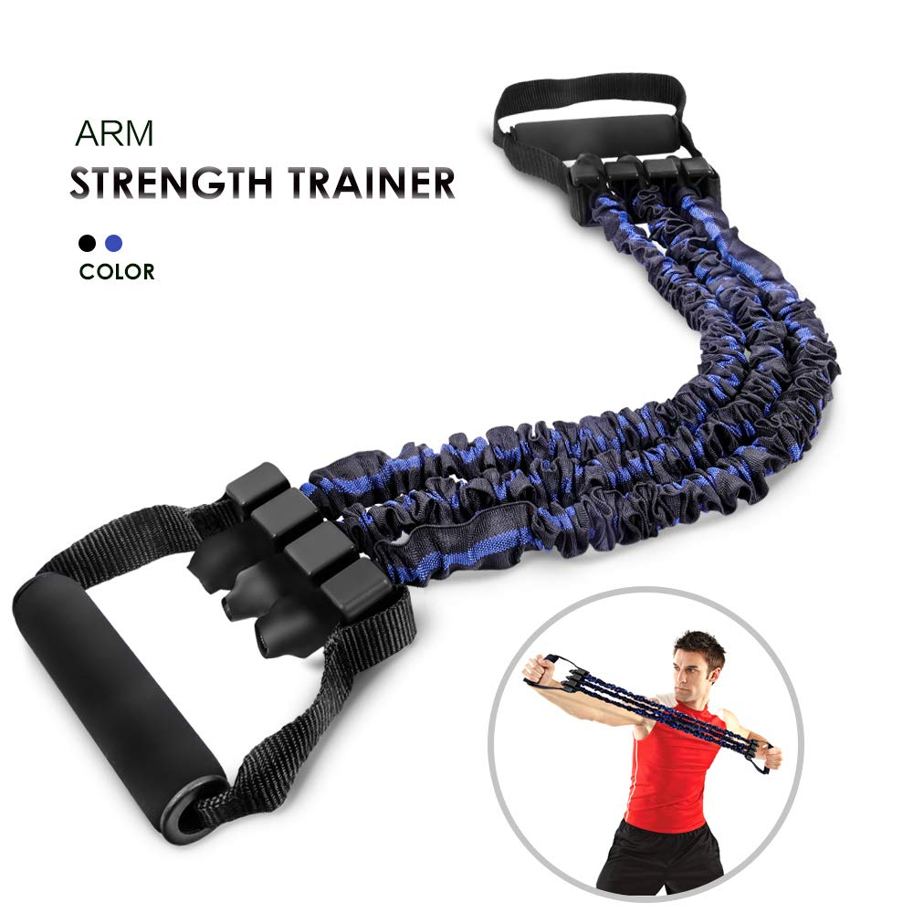 Chest Arm Expander 3 Tubes Ajustable Arm Strength Trainer with 2 Bonus Exercise Resistance Bands for Home Gym Muscle Training Exerciser