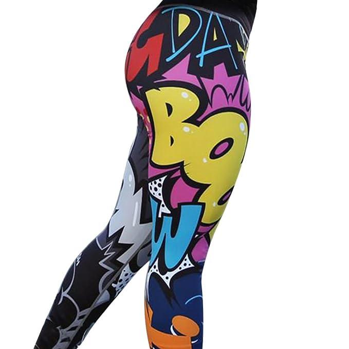 Amazon.com: raisingtop Mujer Pantalones impresión colorida ...