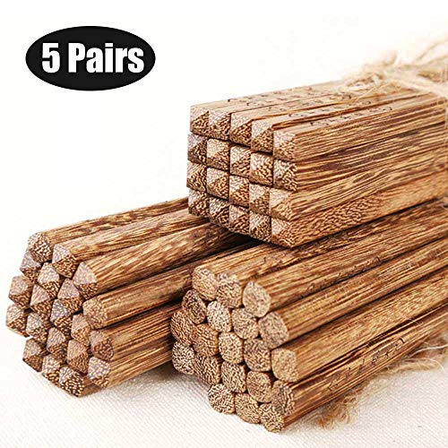 - Chopsticks Reusable Chinese Style Natural Wood Chopstick Cooking Weight Loss Natural Healthy Used for Family Hotel Restaurant Hot Pot Gourmet Noodles 5 Pairs Gift Set (Chopstick - 5Pairs)