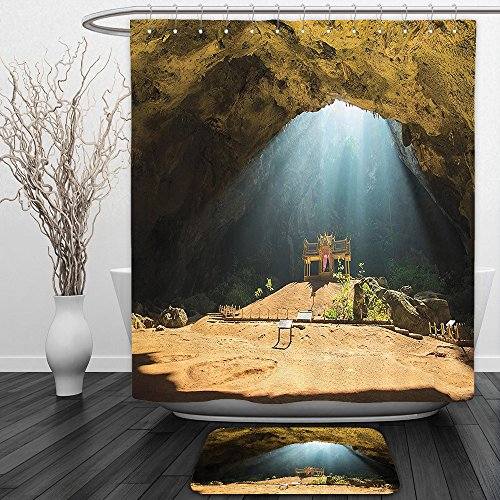 Vipsung Shower Curtain And Ground MatNatural Cave Decorations Collection View from Inside of Buried Den to Beach and Sky Italian Sea Coast Sardinia Blue CreamShower Curtain Set with Bath Mats Rugs - Echo Sardinia Curtains
