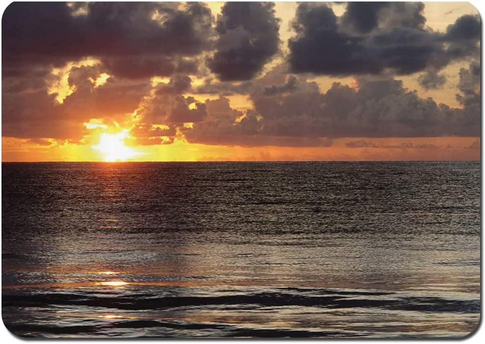 Blived Alfombrilla de baño.Antideslizante,Dramático Amanecer en Cancún Cloudscape Skyline Calm Ocean Coastal Picture Alfombra de Ducha(75cmx45cm)