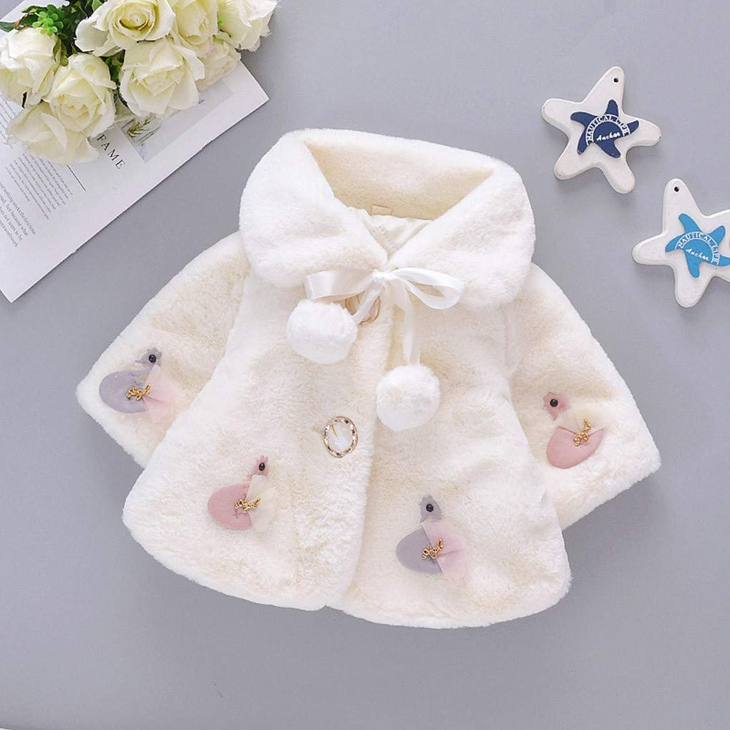 Toddler Baby Winter Velvet Cape Windproof Coat Warm Thicken Cloak Poncho 3M-2T 3-6 Months, Pink Gallity Warm Jacket Coat for Baby Girls