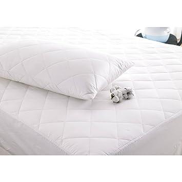 Fine ropa de cama Company lujo Natural hipoalergénico de profundidad relleno algodón Protector de colchón, blanco - tamaño individual: Amazon.es: Hogar