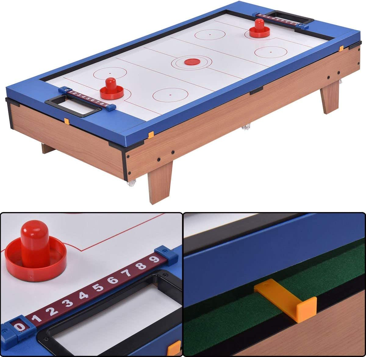 ReunionG 4 in 1 Multi Game Table Including Hockey Foosball Table Tennis Billiard Combination
