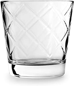 Circleware Arrabella Double Old Fashioned Whiskey Glasses, Set of 4 Kitchen Drinking Glassware for Water, Juice, Ice Tea, Beer, Wine Bar Barrel Liquor Dining Decor Beverage Gifts, 12.5 oz