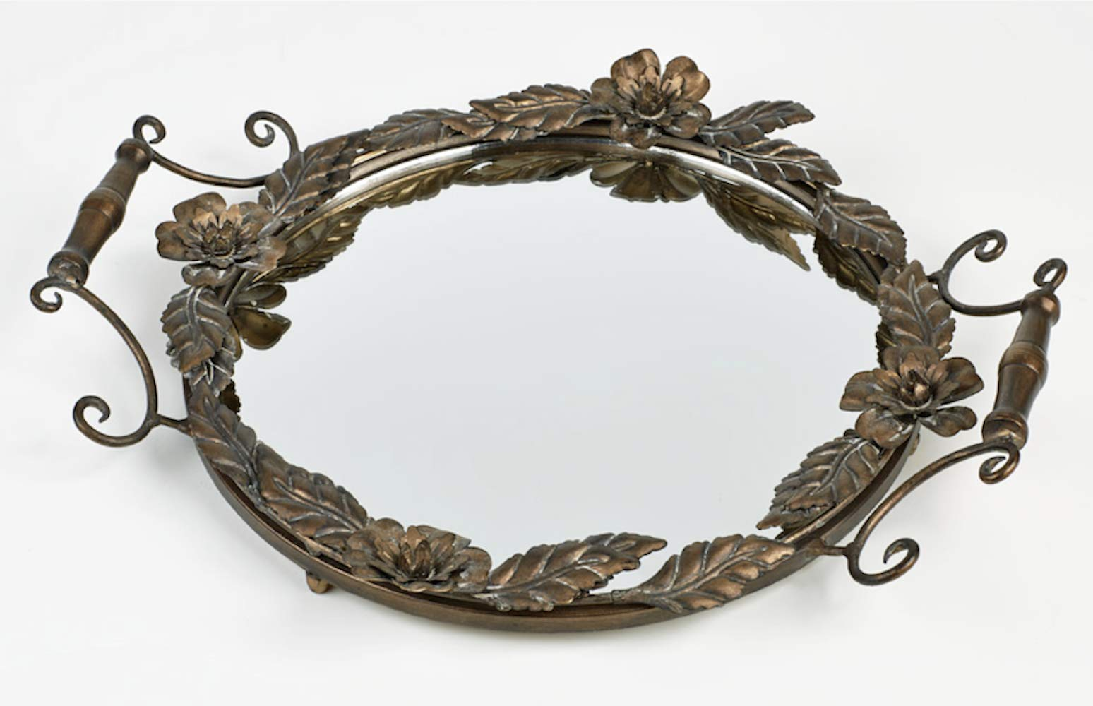 Touch of Class Floral Kisses Mirrored Vanity Tray Bronze